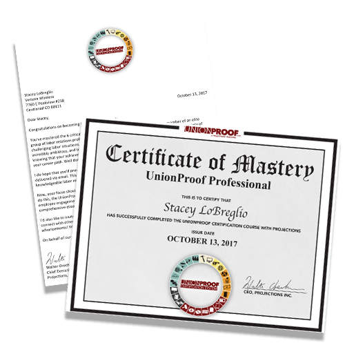 UnionProof Certification Certificate